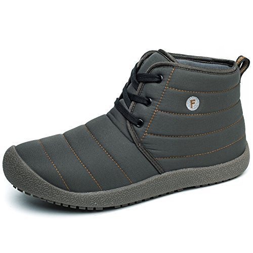 Enly Winter Snow Boots Lace Up Water Resistant Booties for Men Women Kids, Anti-Slip Lightweight Ankle Boots Grey