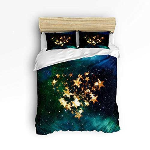 FunDecorArt 3 Piece Bedding Set King Size, Valentine's Day Starry Sky Stars Love, Polyester Duvet Cover Set Comforter Cover Pillow Cases for Couples Lovers Adults