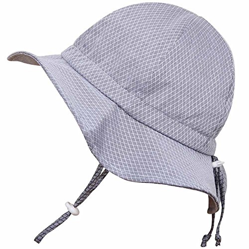Baby Sun Hat with Chin Strap, Drawstring Adjust Head Size, Breathable 50+ UPF (S: 0 - 9m, Grey Argyle)
