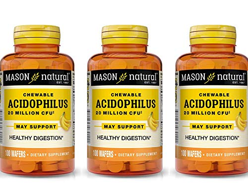 Mason Vitamins Chewable Acidophilus Wafers To Support Colon Health & Digestive Aid Vanilla Banana Flavor 100 Wafers per Bottle Pack of 3 Total 300 Wafers