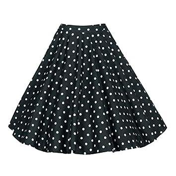 HEHEAB Falda,Puntos Blancos Imprimir Negro Vintage Plus Size Swing ...