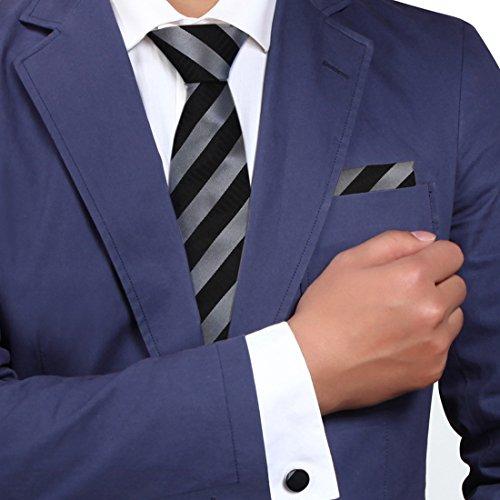 Black tie designer for mens silver stripes Valentine fashion silk necktie cufflinks hanky set H5137  Black (Tie Stripe Silver)