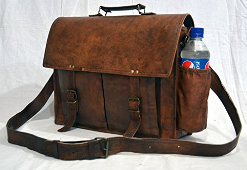 Messenger of Leather Handmade Vintage Leather Briefcase for Men & Women. 11'' x 15'' x 4.5'' by Messenger of Leather (Image #2)