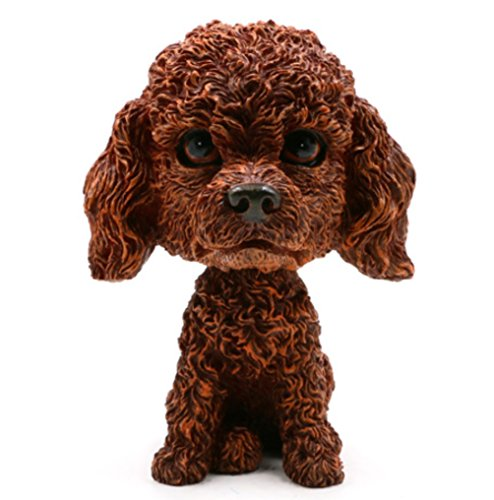 OZUKO Bobblehead Mini Puppy Dog Figurine Bobbling Heads Car Dashboard Decoration Nodding Shaking Head Toys for Kids Room (Poodle)