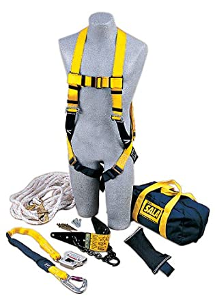 3M DBI-SALA 2104168 Roof Anchor Kit, w/Roof Anchor, Rope Adjuster  w/Lanyard, Harness, 50' Lifeline, Counterweight, Bag, White/Navy/Yellow -  Fall Arrest Safety Harnesses - Amazon.comAmazon.com