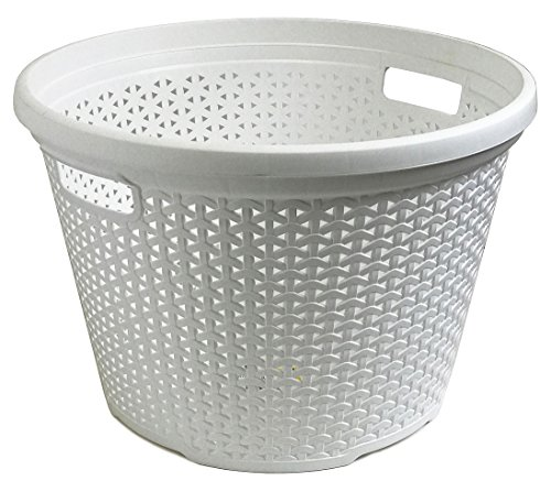 Wee's Beyond W08-1095-Wht Rattan Round Laundry Basket 30 Lt, White (Laundry Basket Rattan)