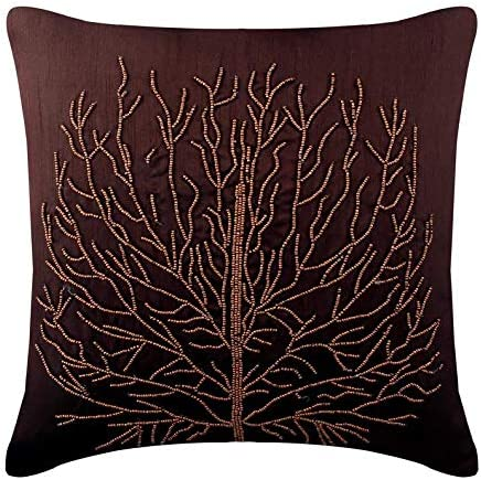 The HomeCentric Luxury Brown European Shams 26×26 inch 65×65 cm , Silk Euro Pillow Cases, Nature Floral, Tree, Beaded, Tropical Euro Size Pillow Covers – Woody Tree