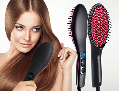 LAZYKARTS® Simply Straight Ceramic Electric DigitalFast Brush Magic Hair Straightener Comb LCD Smooth Straightener Brush Hair Irons