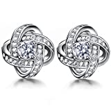 ZENI 925 Silver Women Stud Earrings with 3A 4mm Cubic Zirconia Gemini Earring Sets Twisted Love Knot, Exquisite Gift Package