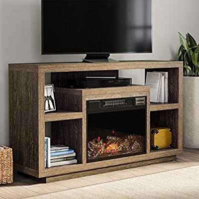 "Northwest 80-FPWF-10 Heat Electric Fireplace Stand-for TVs up to 48"" Console, Media Shelves, Remote Control, LED Flames, Adjustable Heat & Light (Black/Brown)"