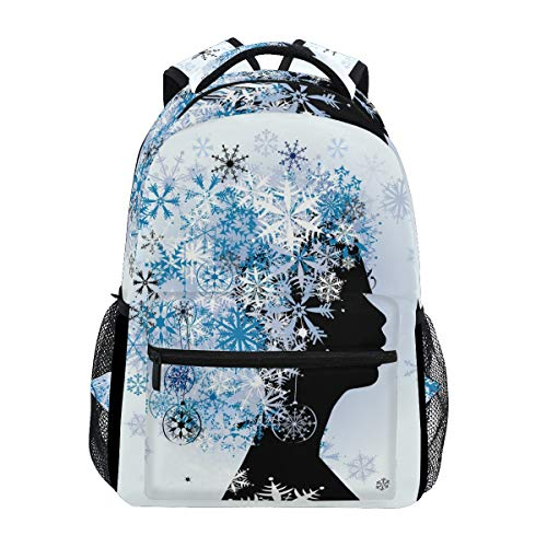 School College Backpack Rucksack Travel Bookbag Outdoor Woman Hairstyle Winter -