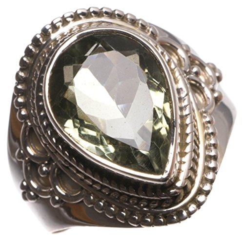 StarGems(tm) Natural Green Amethyst Handmade Unique 925 Sterling Silver Ring, size 9 U1928 (Coin Green Roberto Ring)