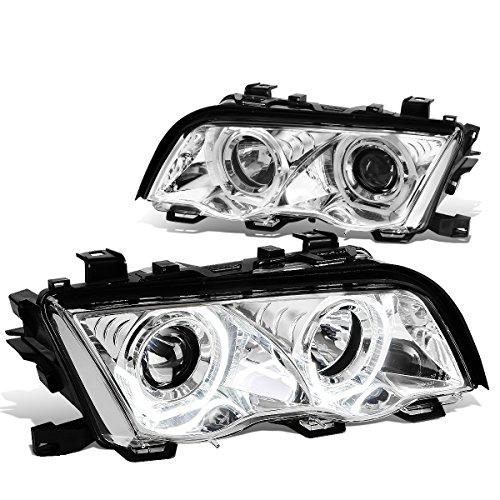 (For BMW E46 3-Series Sedan Pair of 3D Crystal Halo Projector Headlights (Chrome Housing))