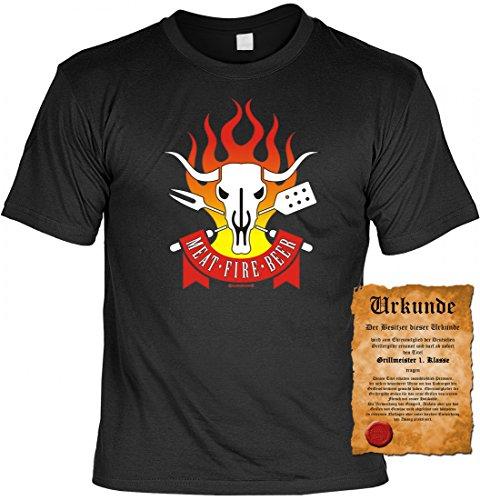 Fun T-Shirt - Meat Fire Beer - lustiges bedrucktes Motivshirt als tolle Geschenk Idee im Set mit Grillmeister Urkunde