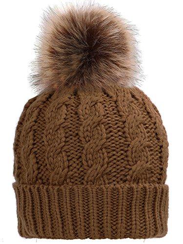 ae7031276 Simplicity Men / Women's Winter Hand Knit Faux Fur Pompoms - Import ...