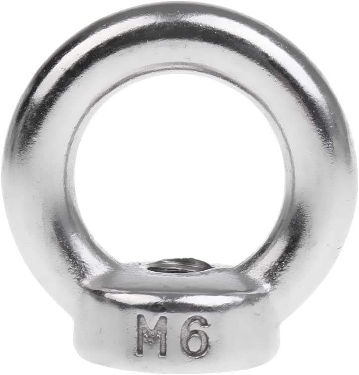 Silver M6 Marine Grade 304 Stainless Steel Lifting Eye Nuts M6 M8 M10-M22 Female Eye Bolts