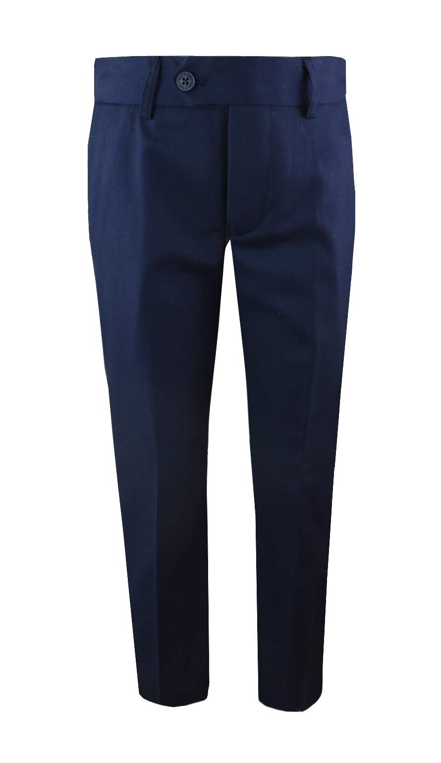 Black n Bianco Boys' First Class Slim Fit Trousers Dress Pants Gently Tapered Flat Front - Presented by Baby Muffin (4T, Navy)