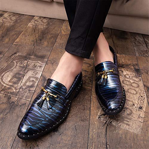 Resbalón Formales Azul Del Hombres De Metal Borla Semi Cuero Zapatos Patente Luz Los Ocasional En Gby Oxford La Cómoda Únicos Moda qRSaXS
