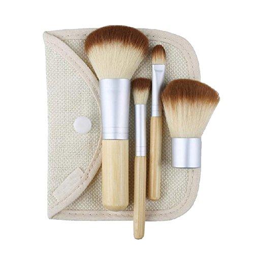 4pcs/set Natural Bamboo Makeup Brushes Set Powder Blush Brushes Cosmetics Tools