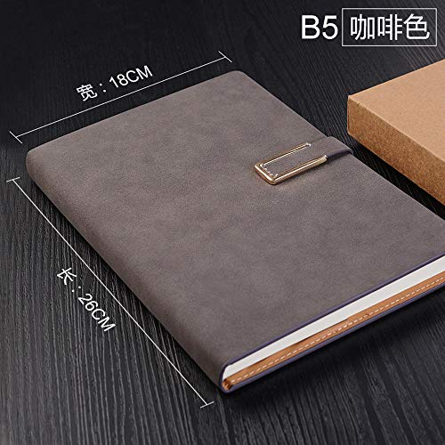 Zylbjb Notebook Gift Retro Line Diary Book Gift Box A5 Leather Belt Buckle-Brown (18K)