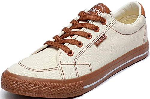 SATUKI Canvas Shoes For Men,Skate Shoes,Casual Lace Up Athletic Lightweight Soft Fashion Sneakers White-brown