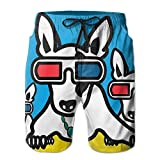 Kurabam Mens Beach Shorts, Boston Terrier with Glasses Beach Coverup Shorts for Men Boys, Outdoor Short Pants Beach Accessories