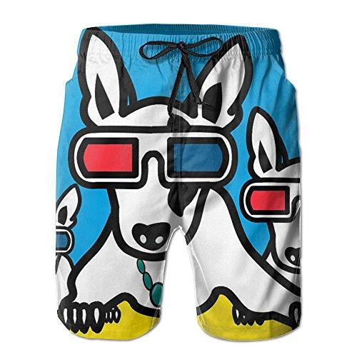 Kurabam Mens Beach Shorts, Boston Terrier with Glasses Beach Coverup Shorts for Men Boys, Outdoor Short Pants Beach Accessories by Kurabam