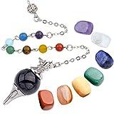 Top Plaza 7 Chakra Healing Crystal Tumbled Palm Stones and Natural Amethyst Dowsing Pendulum Reiki Balance Meditation Jewelry Sets(Round Bead Pendulum#2)