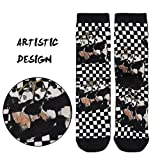 Novelty Design Socks, J'colour Women's Men's Bamboo Funky Cozy Luxury Casual Printed High Socks for Hking with Hugging Panda Pattern Black&White Plaid 1 Pair