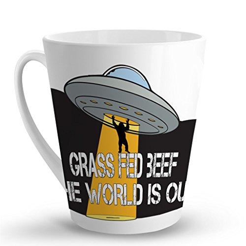GRASS FED BEEF THE WORLD IS OUT Alien UFO Mug - 12 Oz. Unique LATTE MUG, Coffee Cup