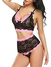 63ceb12c4f Women High Waisted Lingerie Set Lace Bralette Set Sexy Bra Panty Set