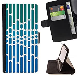 GIFT CHOICE / Billetera de cuero Estuche protector Cáscara Funda Caja de la carpeta Cubierta Caso / Wallet Case for Apple Iphone 6 // Blue Striped Geometric Art //