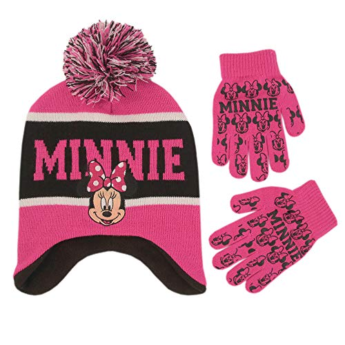 Disney Little Girls Minnie Mouse Hat and Glove Cold Weather Set, Age 4-7