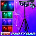 Party Bar - LED DJ Lighting - Includes Stand, 2 - 12x1W RGBW Pars, 2 - 10w RGBW Moonflowers and a Remote Control.