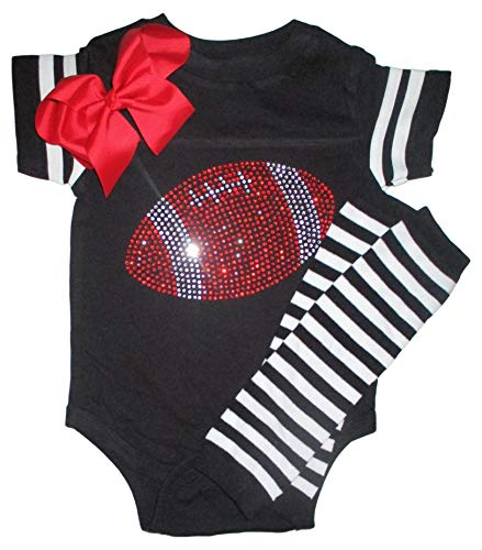 FanGarb Rhinestone Infant Toddler Baby Girls Football Team Color Outfit (6 Months, Black/Red) -