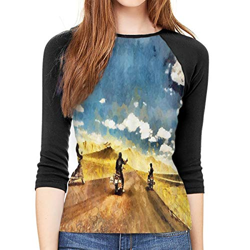 (JDSOD A Group of Friends are Taking A Risk On Motorcycles Women's 3/4-Sleeve Raglan Tee)