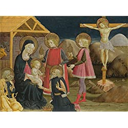 Oil Painting 'Benedetto Bonfigli - The Adoration Of The Kings, And Christ On The Cross,about 1465-75' 24 x 32 inch / 61 x 82 cm , on High Definition HD canvas prints, Bath Room, Dining Room An decor