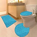 Anhuthree Blue and Black Bath Toilet mat Set Doodle Style Cinema Movie Theater Icons Camera Seat Popcorn Clapper 3 Piece Toilet Cover Set Pale Blue and Black