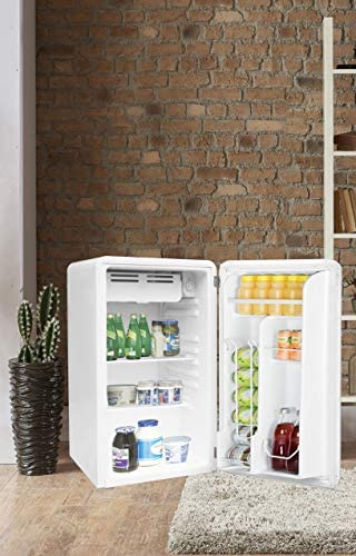 FRIGIDAIRE EFR372-WHITE 3.2 Cu Ft White Retro Compact Rounded Corner Premium Mini Fridge