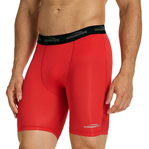 COOLOMG Men's Compression Leggings Baselayer Underwear Shorts Tights Pants for Workouts, Running, Cycling, Sports, Training Red ()