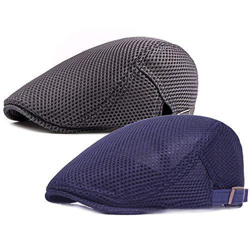 (Men's Breathable Mesh Summer Hat Flat Cap Beret Ivy Gatsby Newsboy Cabbie Caps (B-Navy/Grey))