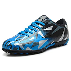 T&B Cleat Soccer Turf Football Shoes Kids Casual Footwear Sky Blue Black No.76516-TL-31-13.5US