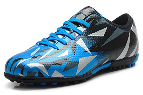 T&B Soccer Shoes Turf Kids Indoor Sport Lace Up Blue Black No.76516-TL-33-2.0US (Indoor Soccer Turf)