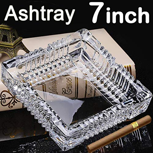 Glass Ashtray Square - BSWEEII Large Square Glass Ashtrays for Cigars and Cigarettes Big Ashtray Outdoor for Patio Tabletop Decorative Ashtrays for Home Outside Indoor Restaurant Cigar Ashtrays for Men 7inch