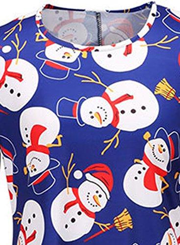 Azbro Women's Christmas Snowman Graphic Loose Fit Dress, Blue S