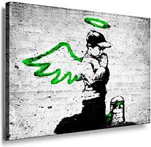 Banksy Graffiti Street Art 1218. Size 100x70x2cm(l/h/w). Canvas On Wooden Frame. Made In Germany.