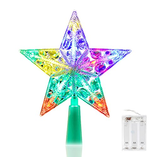 Christmas Tree Star Topper, VOLADOR 6'' Christmas Star Lights for Holiday Decorations- Multicolor