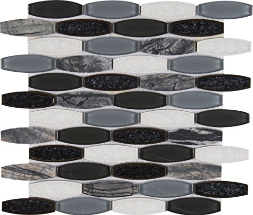 M S International Haley Gris 11.41 In. X 12 In. X 8 mm Glass Stone Mesh-Mounted Mosaic Tile, (9.5 sq. ft., 10 pieces per case) (Jewelry Haley)