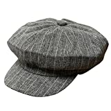 XueXian(TM) Mens Womens Cotton Short Brim Striped Painter Octagonal Caps (Dark Gray)