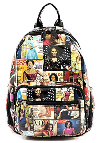 Glossy Magazine Cover Collage Backpack Michelle Obama Handbag Fashion Backpack (7-Multi/Black)